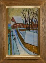 LOUIS LATAPIE (1891-1972) Le moulin Huile sur papier marouflé sur toile Signé en bas à droite 47 x 3