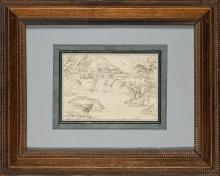 Attribué à Giovanni Francesco GRIMALDI (1606-1680) Paysage Plume et encre brune 13 7 x 19 6 cm Tache