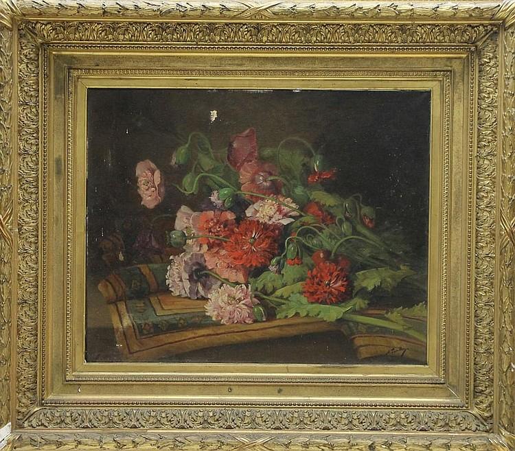 Alfred TOURILLON (XIXème siècle) Bouquet de fleurs Huile sur toile signée en bas à droite Important cadre en bois et stuc doré 60 x 74 cm (rentoilage et accidents)
