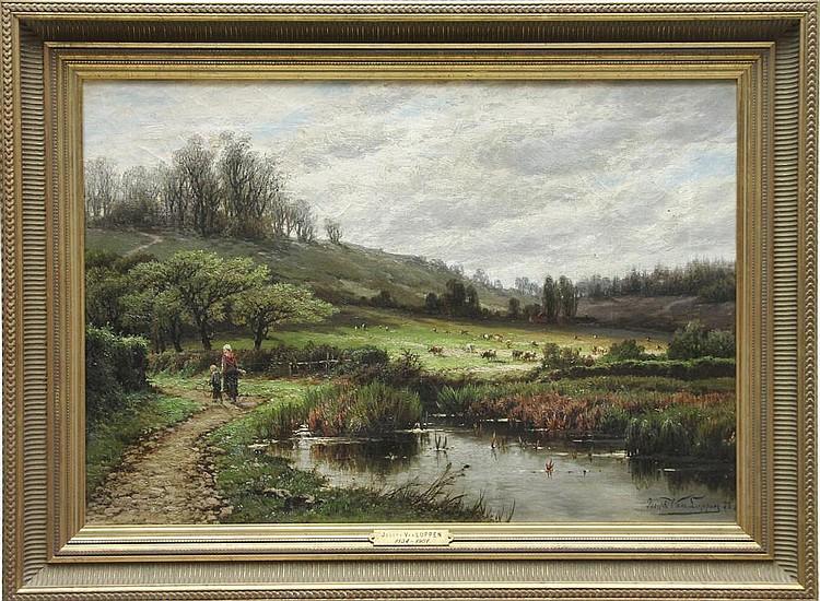 Joseph VAN LUPPEN (1834-1901) Le matin Huile sur toile signée en bas à droite et datée 78 Titrée, située, contresignée et datée au dos 43 x 62 cm
