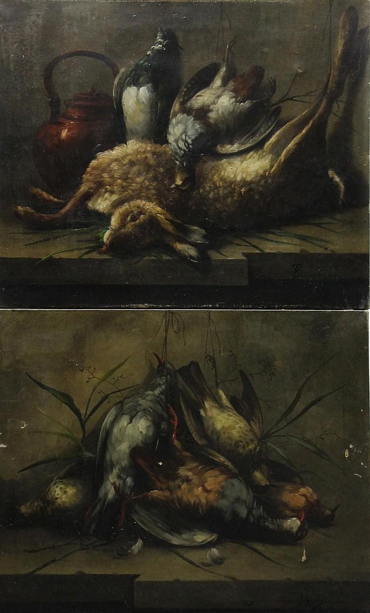 Maurice Jean BOURGUIGNON (1877-1925) Natures mortes aux gibiers Paire d'huiles sur toiles signées en bas à droite (sans cadre) 50 x 61 cm (accidents)