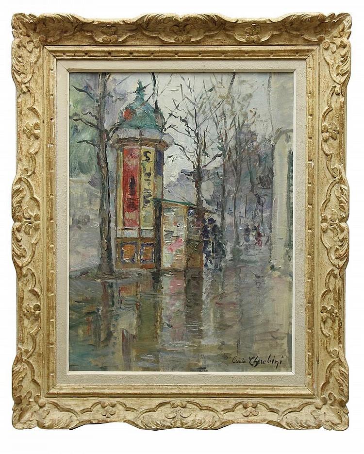 Carlo CHERUBINI (1897-1978) Le kiosque à journaux Huile sur toile signée en bas à droite 61 x 46 cm