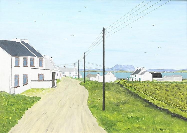 ECOLE DE TORY (Nord-Ouest de l'Irlande) Vue de la rue principale de l'Ile de Tory Huile sur isorel signé en bas à droite R.L Rodgers 33 x 46 cm