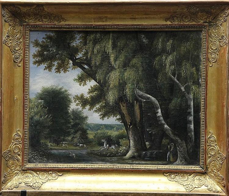 Caroline BONAPARTE (1782-1839) Elève de Hyacinthe DUNOUY (1757-1841). Chasse à courre en forêt de Fontainebleau Huile sur sa toile d'origine 32 X 40.5 cm. Châssis et cadre d'origine à palmettes, annoté à la plume à l'arrière du cadre : Mr Bafsoul à