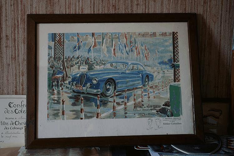 Geo Ham, lithographie représentant la Delahaye des vainqueurs du Rallye de Monte-Carlo 1951, inscription au dos :