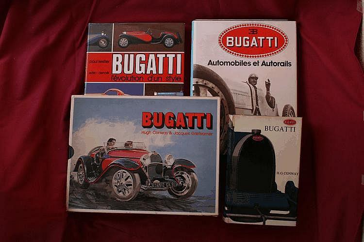 Bugatti, par H. Conway et J. Greilsamer, 1978, Bugatti - L'Evolution d'un style, par Kestler Paul, 1975, Bugatti, par H. Conway, 1965, Bugatti Automobiles et Autorails, par A. Lot, 1979.