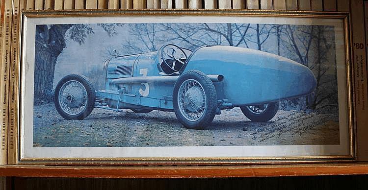 Rolland Pilain Grand Prix A22, très belle photographie encadrée et dédicacée par Henri Malartre