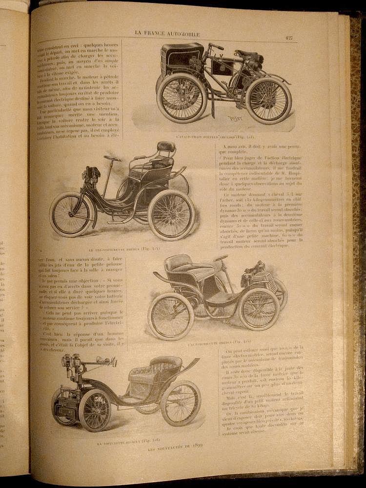 La France Automobile 1898,  3 ème année, 52 numéros, reliée en 1 volume.