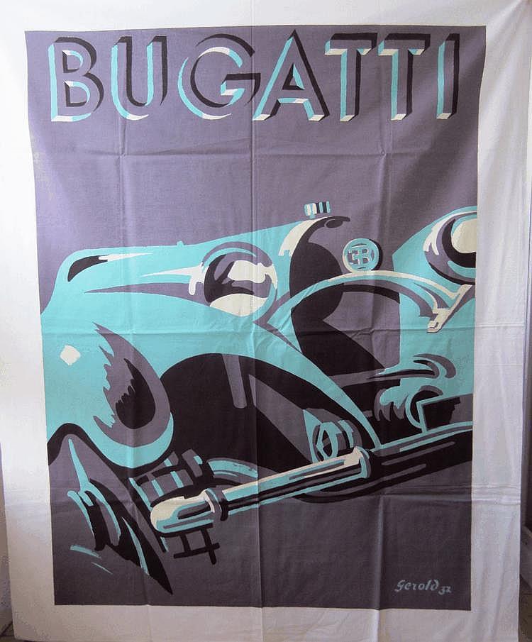 Nappe reproduisant la célèbre affiche Bugatti de Gerold, 115 x 145 cm, offerte à Lucien Loreille à l'occasion d'un Rallye, état neuf, jamais servi.