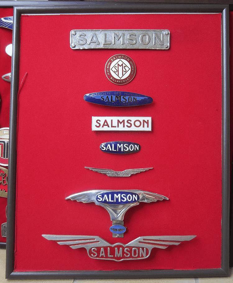 Œuvre originale de Lucien Loreille représentant un assortiment de badges émaillés et monogrammes de la marque Salmson, 45 x 52 cm, 9 éléments.