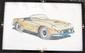 Dessin original, non signé, années 70, représentant une Ferrari 250 GT California, 43 x 27 cm.
