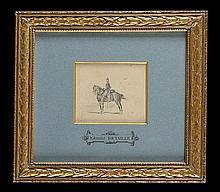 Edouard detaille (1848-1912) « Cavalier aux aguets » Dessin au crayon noir. 10,5 x 9 cm. Sous verre. Cadre doré, avec Marie Louise annotée « Edouard Detaille » B.e.