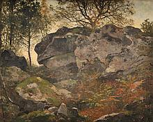 Ecole Française du XIXè siècle Rochers en forêt de Fontainebleau Sur sa toile d'origine 35 x 42,5 cm  On its original canvas, Signed lower right, 13,7 x 16,7 in.
