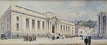 Ecole Française du XIXème siècle L'entrée du Palais de Justice Aquarelle 39,2 x 92 cm  Watercolor, 15,4 x 36,2 in.
