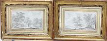Aignan Thomas DESFRICHES (1715-1800) Scènes de chasse au bord d'un étang Paire de crayons signés et datés 1778 Annotation manuscrite au dos Madame La Marquise de Tranol 9 x 14,5 cm