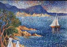LUCIEN NEUQUELMAN (1909-1988) La côte à Ste-Maxime Huile sur toile Signée en bas à droite Contresignée et titrée au dos 33 x 46 cm