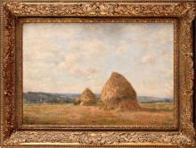 Jean MASSE (1856-1950) Les moissons Huile sur toile Signé en bas à gauche