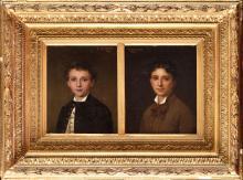 Eugénie Marie SALANSON (1836-1912) Portrait de jeune homme Paire d'huiles s