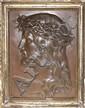 PLAQUE en bronze à patine brune représentant le profil du Christ portant la couronne d'épines.  Signée en bas à droite 'LHOSTE' Circa 1900 25 x 19 cm