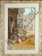 VOLZ E.  Fermières et poules dans une cour Huile sur panneau signée en bas à doite 41 x 27 cm