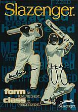 Slazenger Cricket Bat Advertising Card signed by