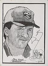 Signed B/W sketch of Steve Waugh