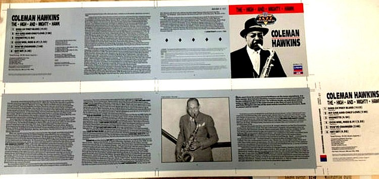 COLEMAN HAWKINS VERY RARE PROOF ARTWORK FOR THE HIGH AND MIGHTY HAWK