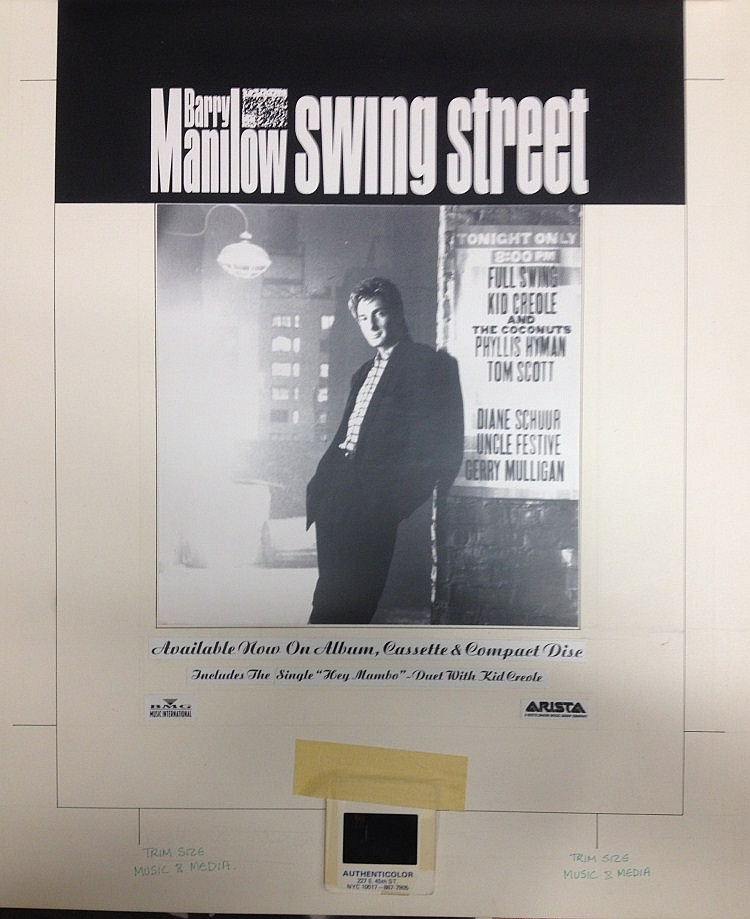 BARRY MANILOW SWING STREET ORIGINAL PRODUCTION ARTWORK