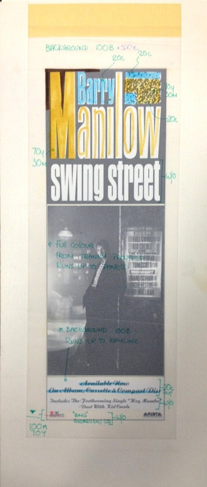 BARRY MANILOW SWING STREET ORIGINAL PRODUCTION ARTWORK