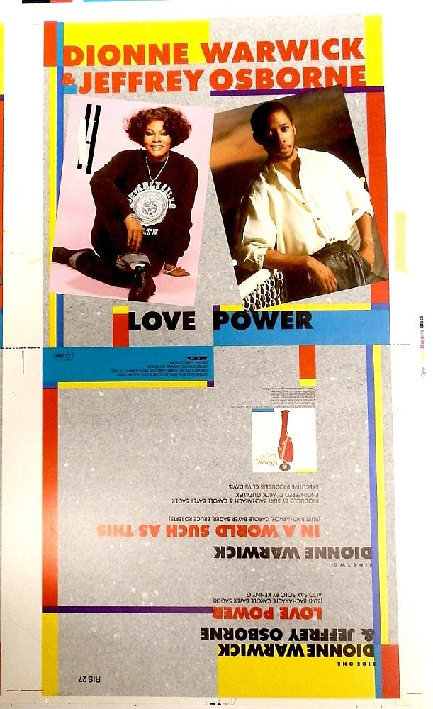 DIONNE WARWICK AND JEFFREY OSBOURNE ORIGINAL PROOF FOR LOVE POWER 7