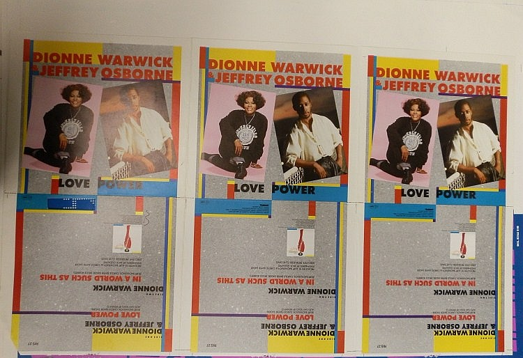 DIONNE WARWICK & JEFFREY OSBOURNE PROOF SHEET FOR LOVE POWER RIS 27