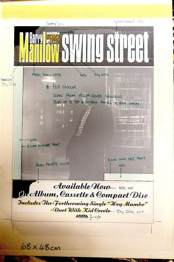 BARRY MANILOW ORIGINAL PRODUCTION ARTWORK FOR SWING STREET