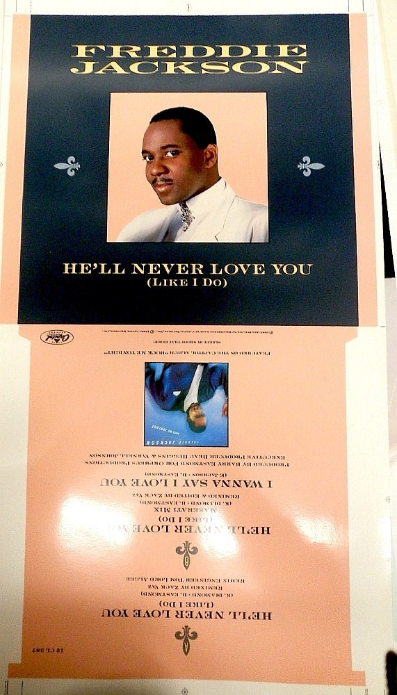 FREDDIE JACKSON ORIGINAL CROMALIN PROOF FOR HE'LL NEVER LOVE YOU