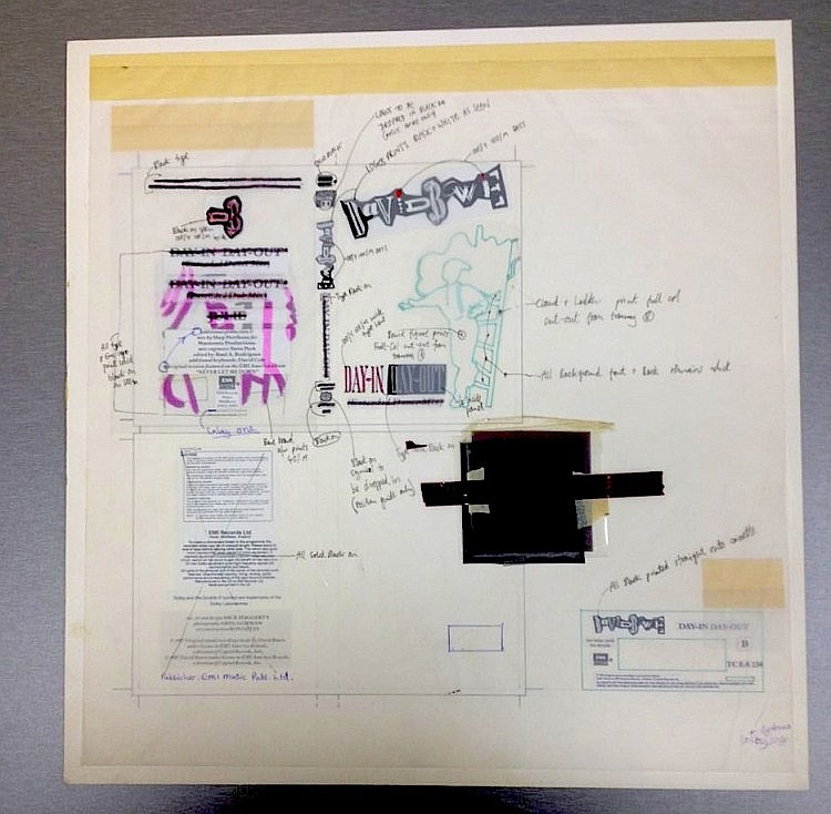 DAVID BOWIE SUPER RARE THE ORIGINAL PRODUCTION ARTWORK DAY-IN DAY OUT TC EA 230