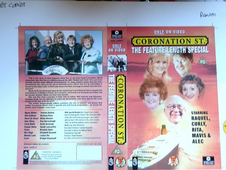 CORONATION STREET RARE 1ST GENERATION PROOF FOR VIDEO COVER