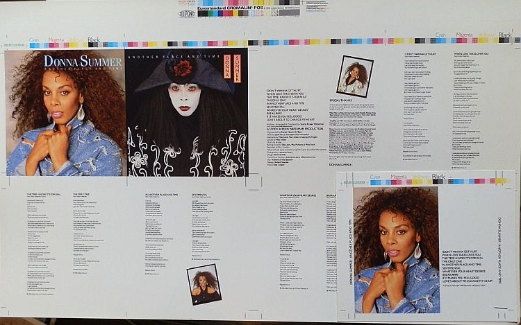 Donna Summer Another Place another time a cromalin proof for the album CD cover
