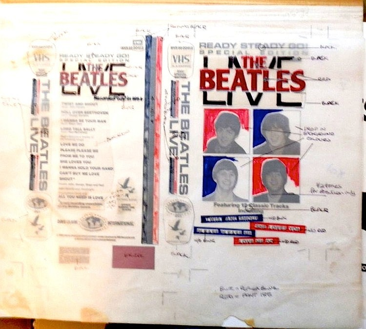 BEATLES original Production Artwork for THE BEATLES LIVE