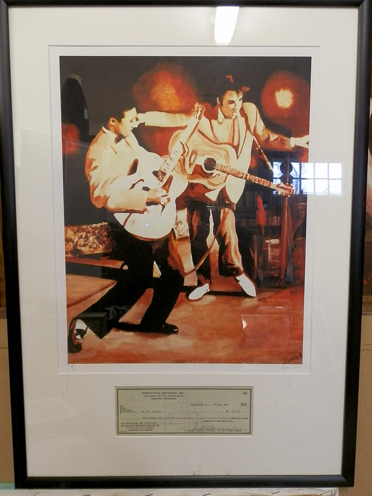 ELVIS & SCOTTY LTD EDITION PRINT WITH RARE ORIGINAL SIGNED CHEQUE FROM SCOTTY