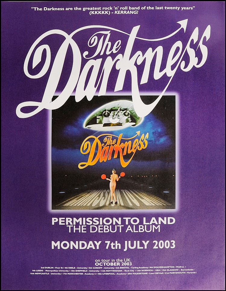 THE DARKNESS RARE UK PROMO POSTER