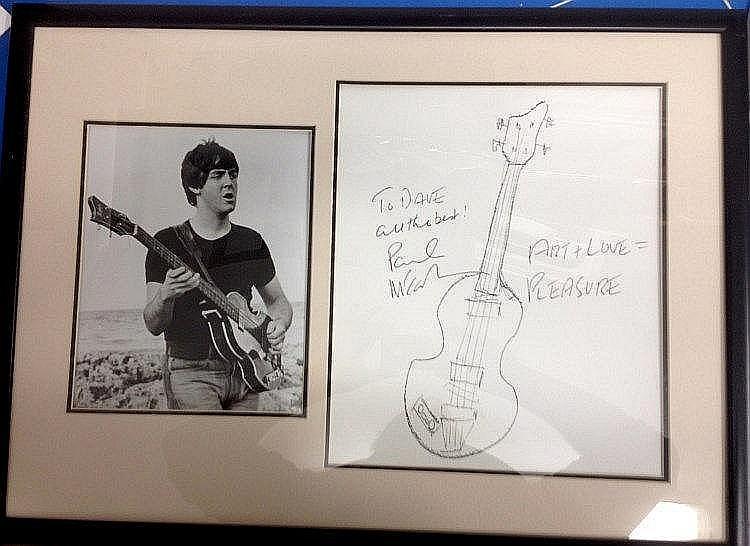 The Beatles Paul McCartney Very Rare Original Drawing by Paul
