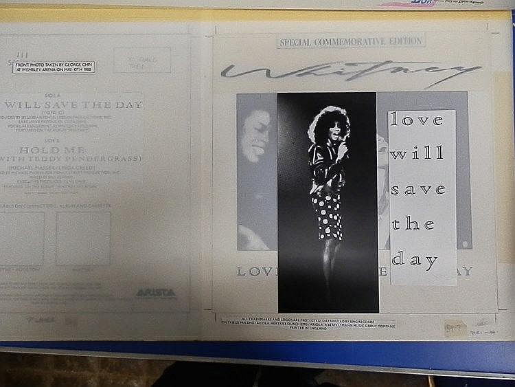 WHITNEY HOUSTON Original production artwork for a 7? single only - Whitney Houston (special commemorative edition) for ?Love will save the day?
