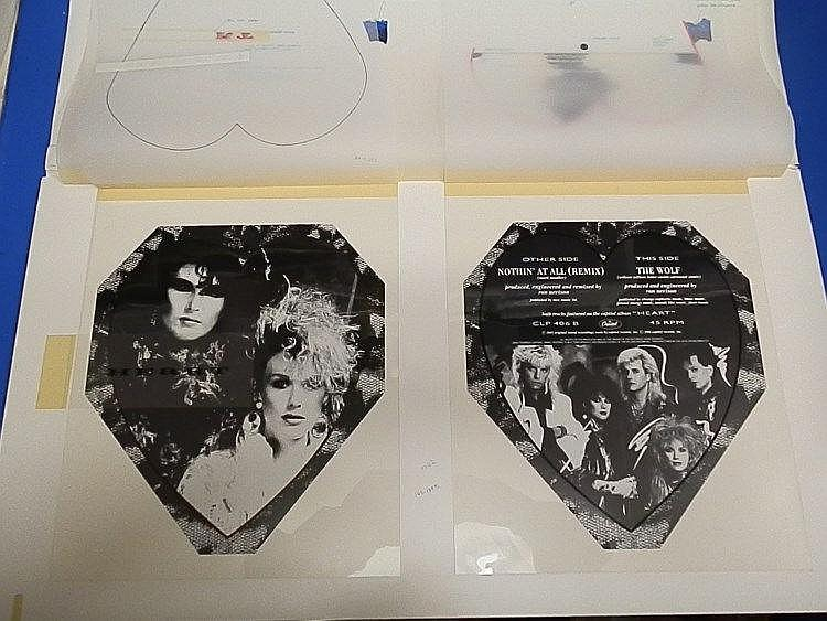HEART Original production artwork for a picture disc for - Heart - Nothin? at all.