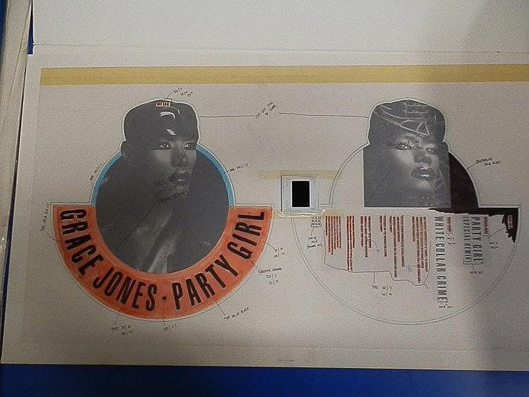 GRACE JONES Original production artwork for Grace Jones picture disc - Party girl & a key transparency.