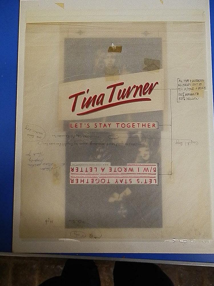 TINA TURNER Original production artwork for 7? single bag for - Lets stay together.