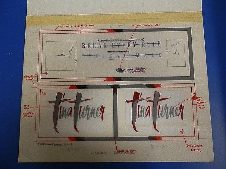 TINA TURNER Original production artwork for name cards - Tina Turner.