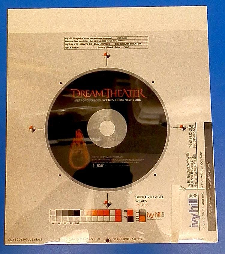 Dream Theater original proof for a DVD label dated 2/2/01