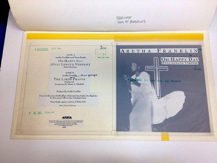 ARETHA FRANKLIN Original production artwork for Aretha Franklin - Oh Happy Day.