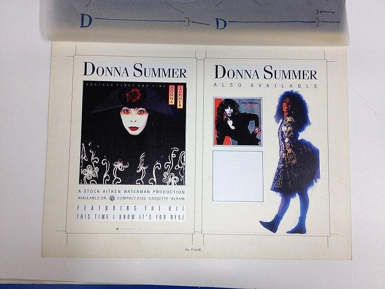 DONNA SUMMER Original production artwork for a double sided flyer for Donna Summer - Another place another time.