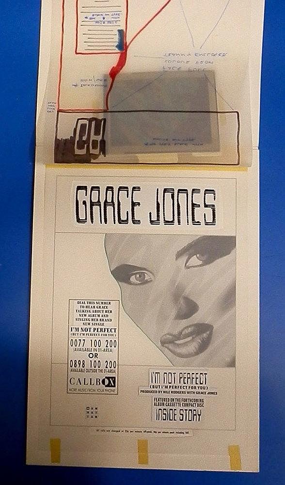 GRACE JONES Original production artwork for an ad & key transparency - Grace Jones - I?m not perfect & Girl about town.
