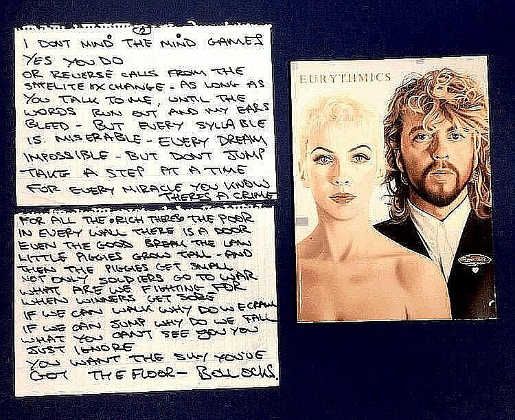 EURYTHMICS DAVE STEWART HANDWRITTEN LYRICS